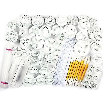 68 Pieces Cake/cookie Decorating Sugarcraft Cutters Smoothers & Plungers - Flower Leaf Shapes