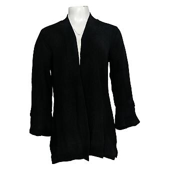 H By Halston Women's Sweater Tulip Sleeve Open Front Cardigan Black A344925