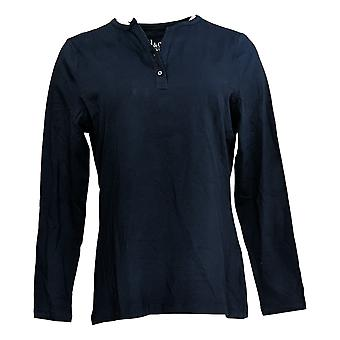 Denim & Co. Women's Top Button V-Neck Henley Blue A388542