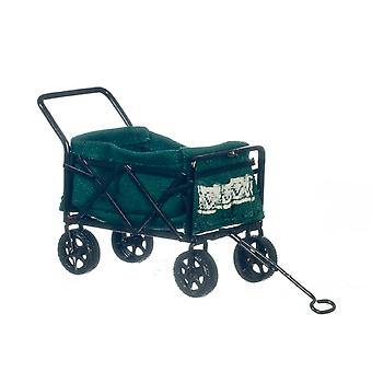 Dolls House Black Trolley Green Bag With Pockets 4 Wheel Shopping Cart Miniature
