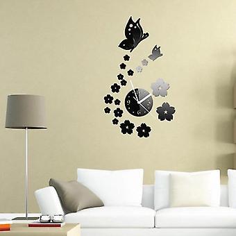 Honana dx-x7 creatieve vlinder 3d acryl spiegel muur sticker kwarts klokken kijken grote home decor