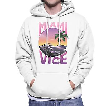 Miami Vice Car And Palm Tree Men's Hooded Sweatshirt