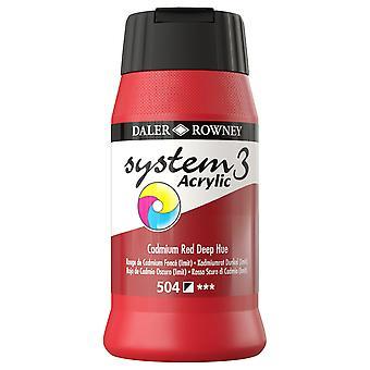Daler Rowney System 3 Acrylic Paint Cadmium Red Deep (500ml)