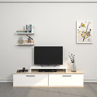 Mobile Porta TV Norma Colore Bianco, Sonoma in Truciolare Melaminico, L150xP30xA39,5 cm