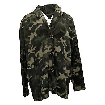 Cuddl Duds Women's Sweater Fleecewear Stretch Blazer Camo Green A369667