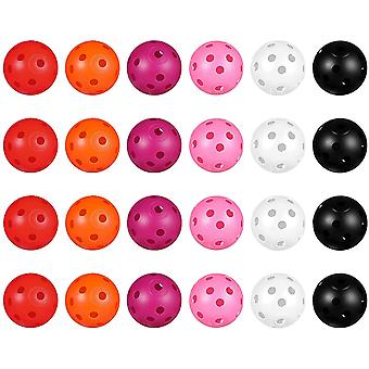 DZK 24pcs Perforated Plastic Toy Golf Balls Hollow Golf Practice Training Sports Balls (Mixed