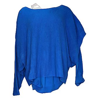 Women With Control Sweater Plus Double Layer Knit Top Blue A384222