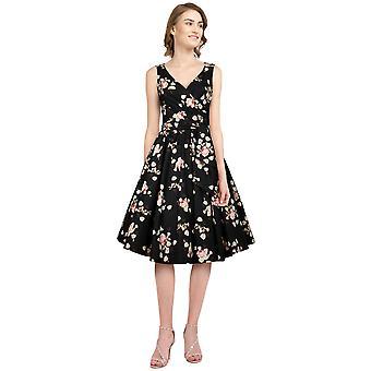 כוכב שיק בתוספת גודל רטרו לעטוף שמלה ללא שרוולים בשחור / פרחוני