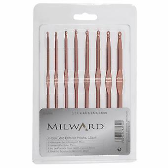 Milward Crochet Hook Set: Rose Gold: Set of 8