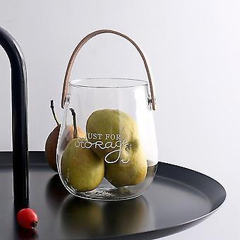 Scandinavian style leather handled glass storage jar
