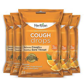 Herbion Naturals Cough Drops with Orange Flavor – 25Ct Pouch (Pack of 5)