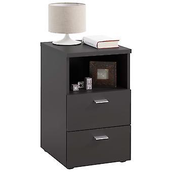 FMD Nachttisch mit 2 Schubladen und Offenem Regal Schwarz
