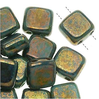 CzechMates Glass 2-Hole Square Tile Beads 6mm 'Bronze Picasso / Turquoise' (1 Strand)