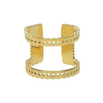Final Sale - Centerline Beadable Adjustable Ring, Cutout and Holes 16mm, 1 Piece, Gold Plated