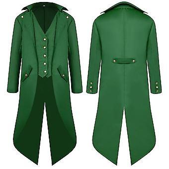 Vert xl hommes moyen âge ancien manteau queue robe longue robe manteau cai1117