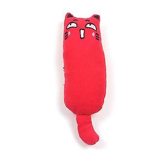 2Pcs الأحمر نقية القطن النسيج القط القط الضرس اللعب، وارتداء مقاومة ويحتوي على catnip az5026