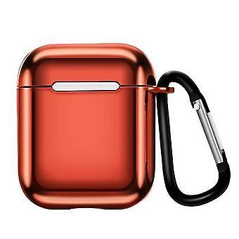 2Pcs красный подходит для airpods1/2 поколения электроплея tpu защитный рукав яблоко Bluetooth беспроводной гарнитуры случае с carabiner az15644