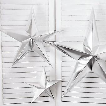 Silver Paper Hanging Star Decoration 70cm Christmas Wedding