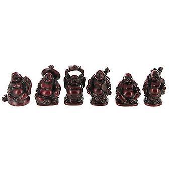 Rød harpiks Buddhas H5cm | Sett med 6