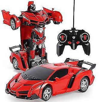 Télécommande de déformation robot de police voiture de contrôle à distance jouet enfants charge jouet (Rouge)
