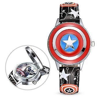 Captain America Dětské hodinky Chlapec Disney Flip Cover Elektronické křemenné hodinky (Barva-2)
