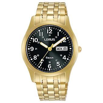 Lorus Classic 38 mm Quarz Schwarz Zifferblatt Gelbgold RXN76DX9 Uhr