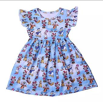 Sommer Kurzarm Mickey Mouse Milch Seide Kleid