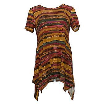 LOGO par Lori Goldstein Women's Top Stripe Print Knit Hem Détail Brown A305471