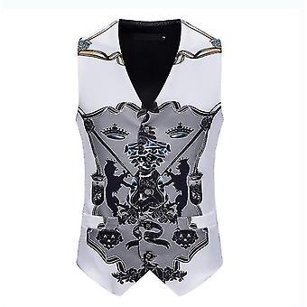 Mens Single Masquerade Breasted Vest Gothic Steampunk Victorian Brocade Waistcoat(M)