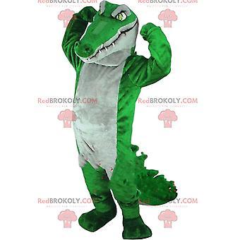 Maskottchen REDBROKOLY.COM grünes und graues Krokodil, riesige Alligator-Verkleidung