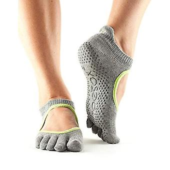 ToeSox Full Toe Bella Bellarina Grip Socks For Barre Pilates Yoga Dance - Heather Grey