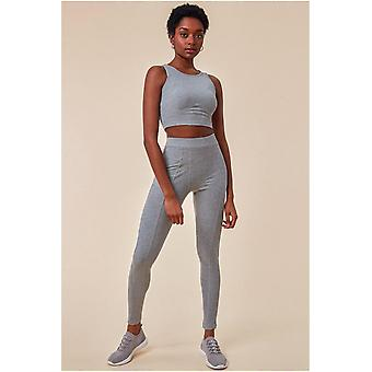 Cosmochic High Neck Crop Top With Leggings Lounge Set - Grey