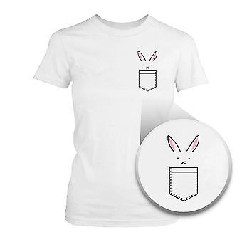 Conejo en el camiseta Pascua conejo lindo bolsillo impreso camiseta bolsillo mujer