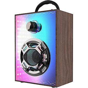 Party Speaker, Bluetooth Speaker With Led Light Portable Speaker Support Mic/aux/usb/micro Sd Input Wireless Speaker For Home Party Picnic(wood Grain)
