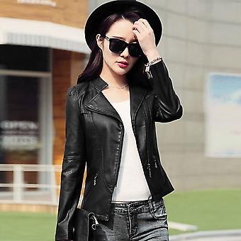 المرأة بو سترة جلدية اللون الصلب طويل الأكمام دراجة نارية معطف Outwear