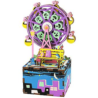 Hand Kurbel Musik Box-3d Holz verträumt Puzzle Diy Assemble Spielzeug