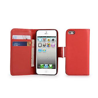 Book Leather Case Cover + stylus for Apple iPhone 5 5S SE - Red