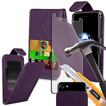 "i-Tronixs - Wiko Lenny 3 Max (5"") High Quality PU Leather Flip Folio Case Cover with Tempered Glass - Purple"