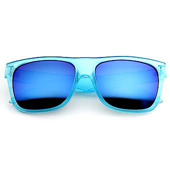Retro Fashion Frosted Color Horn Rimmed Style Sunglasses w/ Color Mirror Lens