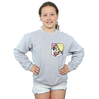 Looney Tunes Girls Lola Bunny Face Faux Pocket Sweatshirt