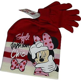 Disney Minnie Mouse niñas Set de gorro y guantes