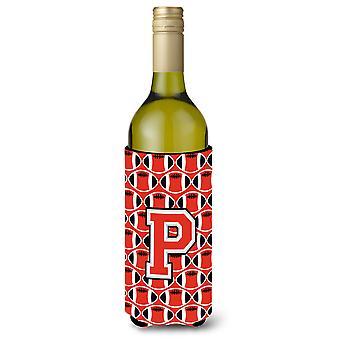 الحرف P لكرة القدم القرمزي والرمادي زجاجة النبيذ المشروبات عازل نعالها