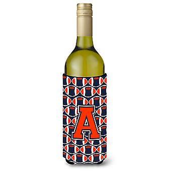 Letter A voetbal oranje, blauw en wit wijn fles drank isolator Hugger