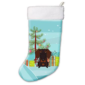 Merry Christmas Tree Wire Haired Dachshund Chocolate Christmas Stocking