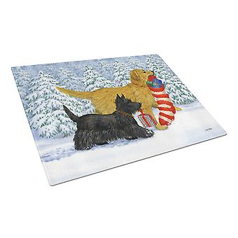 Golden Retriever Keep Up There, Scottie! Glass Cutting Board Large