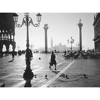 طباعة ملصق فينيسيا ساحة علامات St بمعرض الصور أحادية اللون (31 × 23)