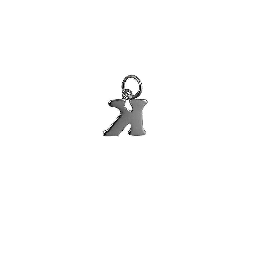 Silver 12x10mm plain Initial K Pendant or Charm