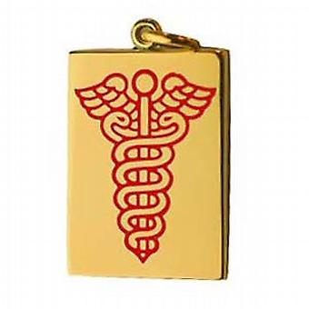 18ct Gold 25x18mm rectangular medical alarm Disc with vitreous red enamel