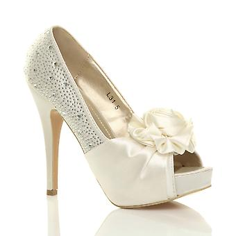 Ajvani kvinners kveld bryllup prom partiet blomst diamante høy hæl plattform peep toe sko sandaler pumper