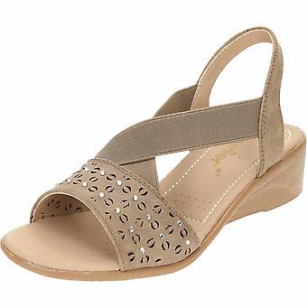 Dr Keller Taupe Slingback Wedge Heel Open Toe Elasticated Sandals